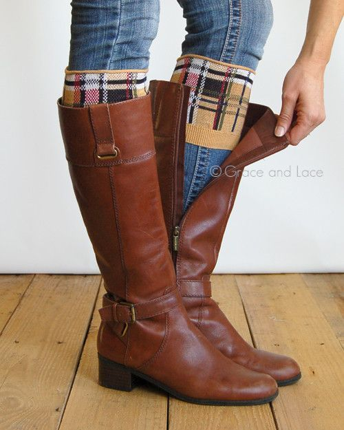 Grace & Lace Patterned Boot Cuffs™ (Plaid - Tan)