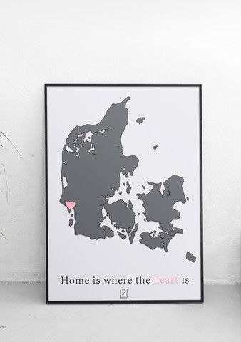 Plakat: home is where the heart is. Her vist med Esbjerg