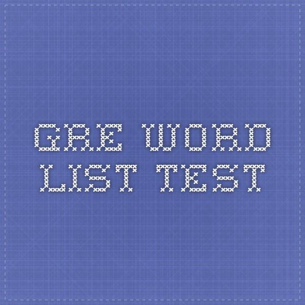 Gre Word list Test