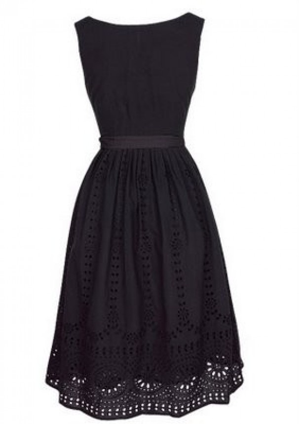 Boat neck with cotton lace overlay. If I find this dress, my LBD search  will be forever over!