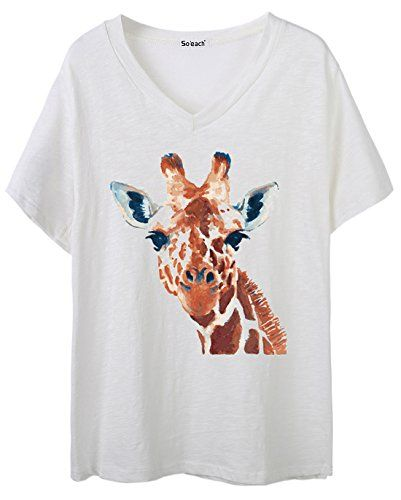 Soeach Womens Animal Giraffe Graphic VNeck Tee Tshirt Ladies Casual Top -- Find out more about the great product at the image link.Note:It is affiliate link to Amazon.