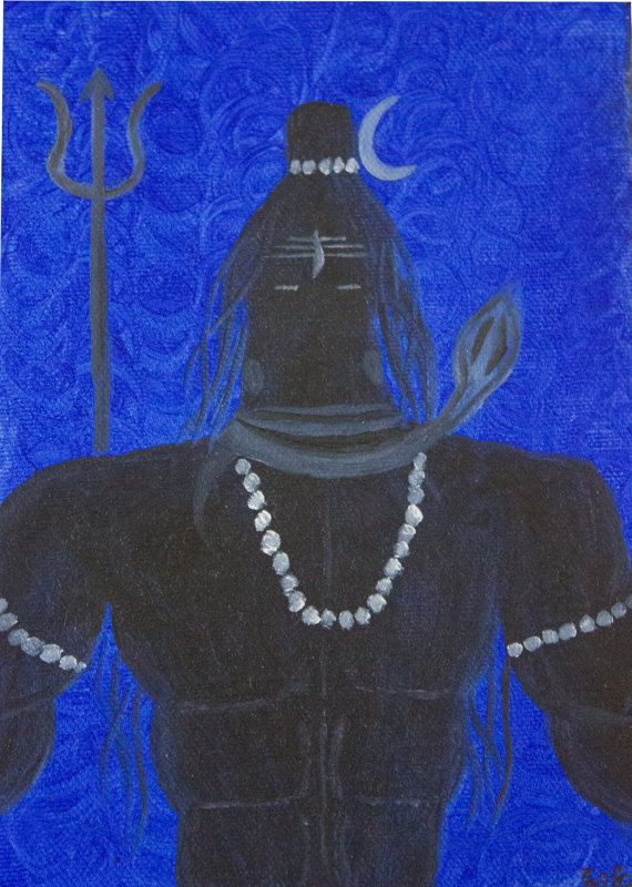 Lord Shiva  Indian God  Original Handmade Canvas by RunePineStudio