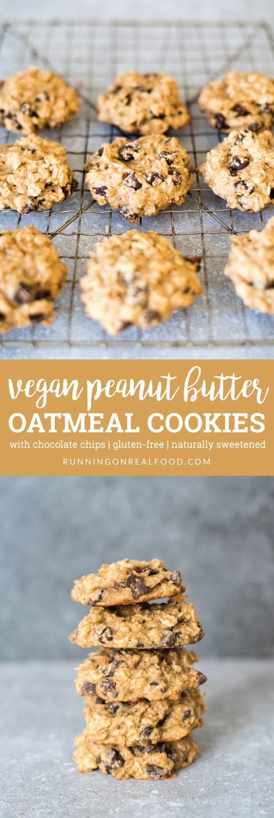 These Vegan Peanut Butter Oatmeal Chocolate Cookies are gluten-free, naturally sweetened, oil-free and easy to make in one bowl. Vegan Peanut Butter Oatmeal Chocolate Chip Cookies https://runningonrealfood.com/vegan-peanut-butter-oatmeal-chocolate-chip-cookies/