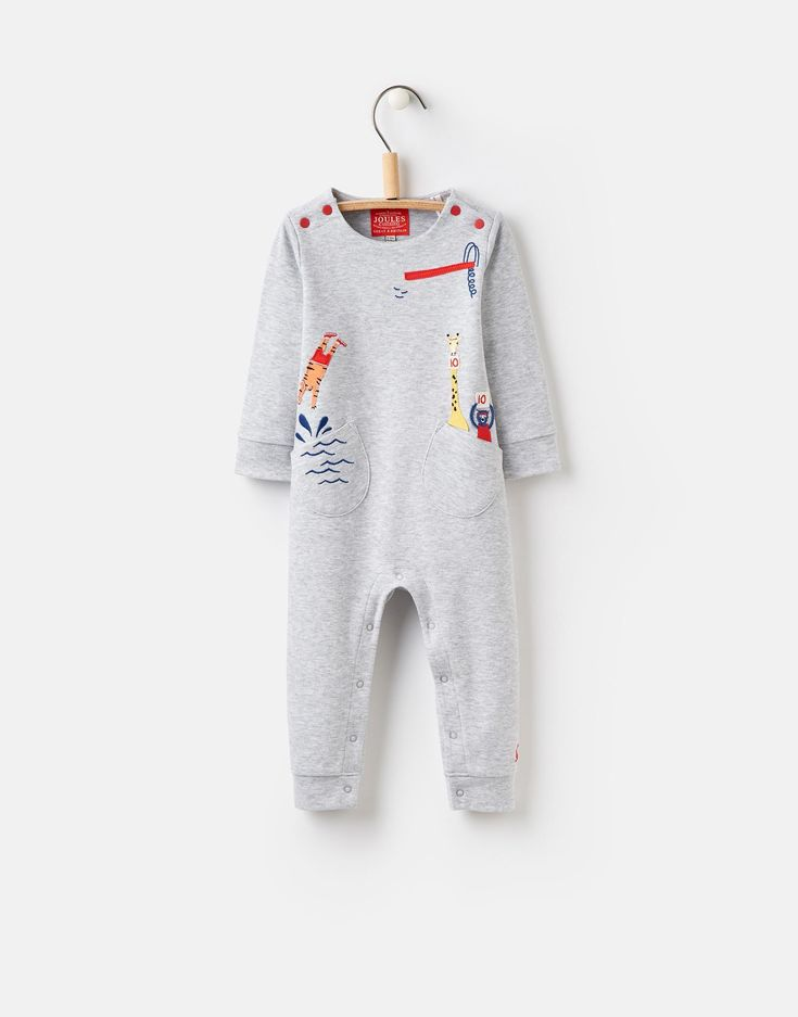 Fife Grey Marl Applique Babygrow | Joules UK