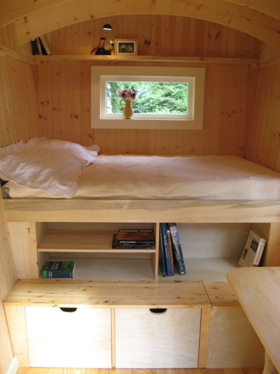 Also from the Hornby Island Caravans' Vorizo, the bed area and storage seems very well laid out.     With so much internally accessible storage under, and a full height pantry across from the kitchen area, and the hollows under the bench, there should be lots of storage.