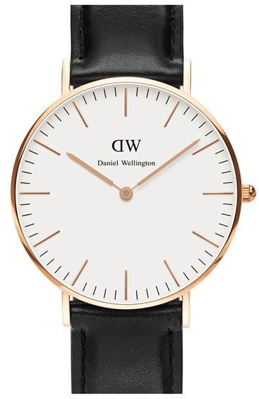 I know no one really wears watches anymore, but I absolutely adore them. #ShopLu Daniel Wellington 'Classic Sheffield' Leather Strap Watch, 36mm