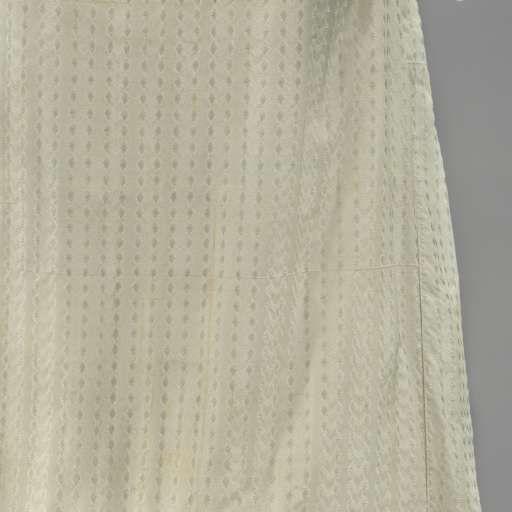 Japon van lichtblauwe zijde met strepen van paren uitwaaierende bloemen; versiering met gewatteerde randen, langs de zoom in schakels en op het lijf in vijf strepen, anonymous, c. 1815 - Rijksmuseum