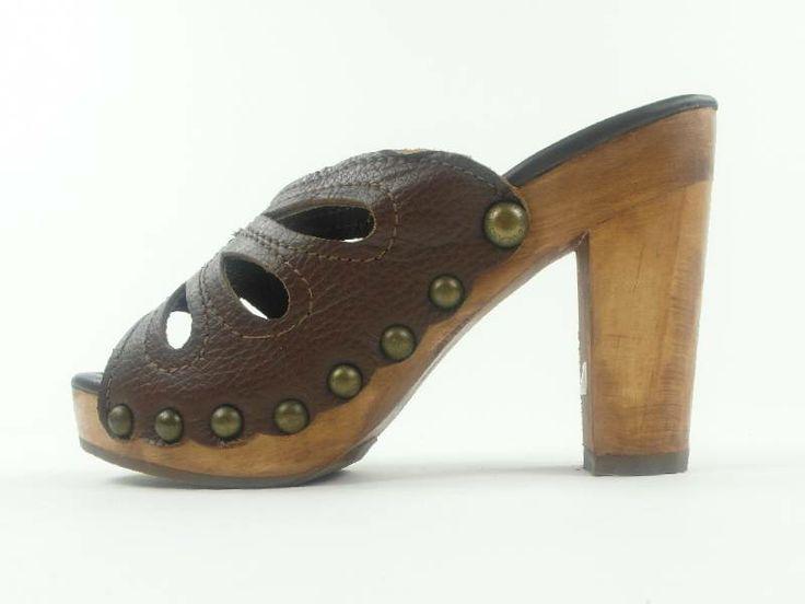 details zu original pepe jeans schuhe clogs sandalen isa 230 c braun holzsohle. Black Bedroom Furniture Sets. Home Design Ideas