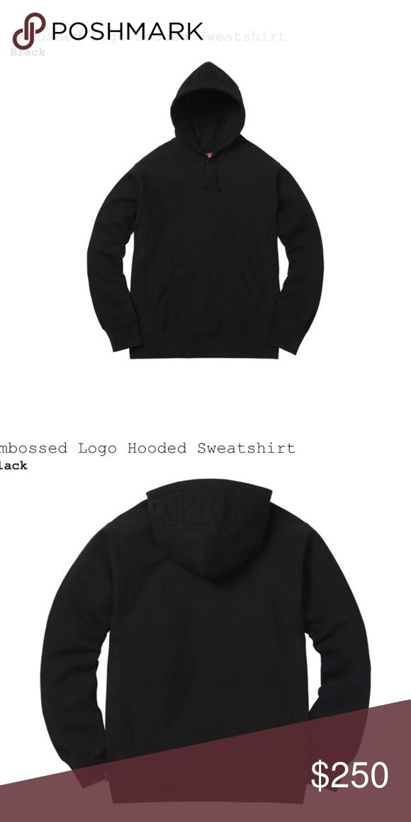 Supreme Embossed Logo Hooded SweatShirt Got this morning, shipped. Will ship to you , Poshmark, PayPal or Bitcoin. Size Medium , Black Hooded Supreme sweater. Best Offers until I get the item Supreme Sweaters