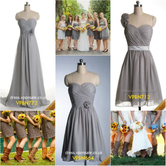 Rustic Sunflower Wedding Ideas autumn bridesmaid dresses sliver bridesmaid dresses platium bridesmaid dresses