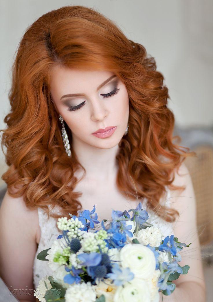 свадебные прически на средние волосы рыжие