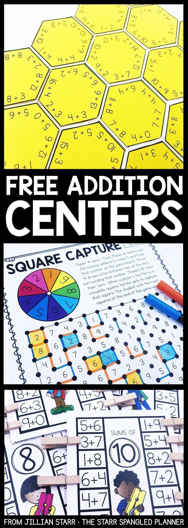 Addition Centers to help your students practice their addition math facts, strategies, and build fact fluency. A mix of games, logic puzzles, and hands on activities that are perfect for Kindergarten, First and Second grade math centers and stations! #mathpracticegames