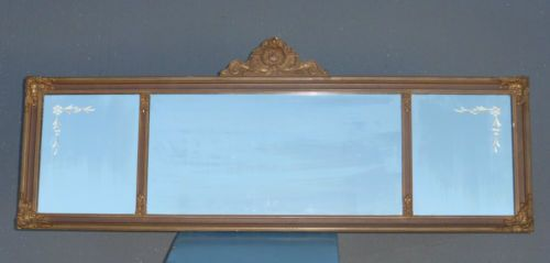 Vintage Art Deco Wall Mirror Etched Carved Mantle Mirror Long Mirror | eBay