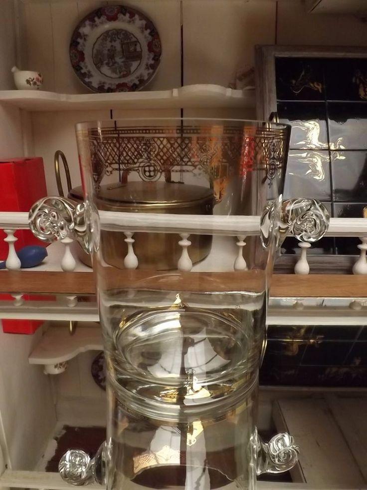 seau a champagne verre dorure a l'or 1960 1970
