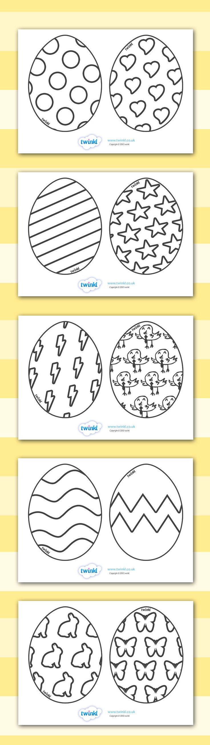 Twinkl Resources >> free printables. Easter Egg Templates >> Printable resources for Primary, EYFS, KS1 and SEN.  Thousands of classroom displays and teaching aids! Topics, Easter, Colouring, Easter Eggs