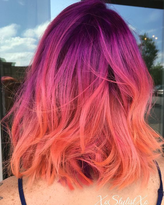 purple and orange/pink ombre hair