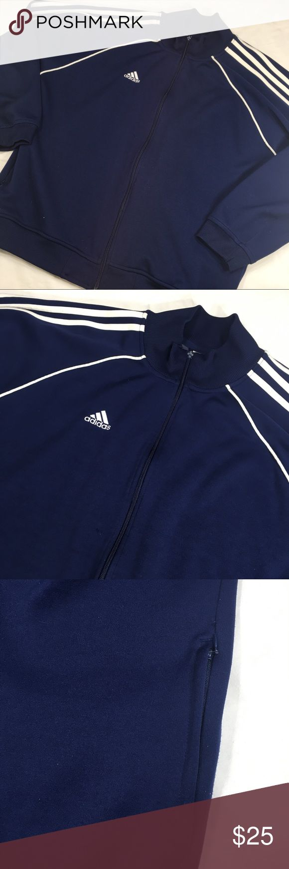 """Adidas Navy Blue Zip Up Track Jacket Gently worn. Size: Large Length: 29"""" Underarm to Underarm: 29.5"""" Material: Polyester/Cotton *Zipper Pull Missing But Still Zips adidas Jackets & Coats"""