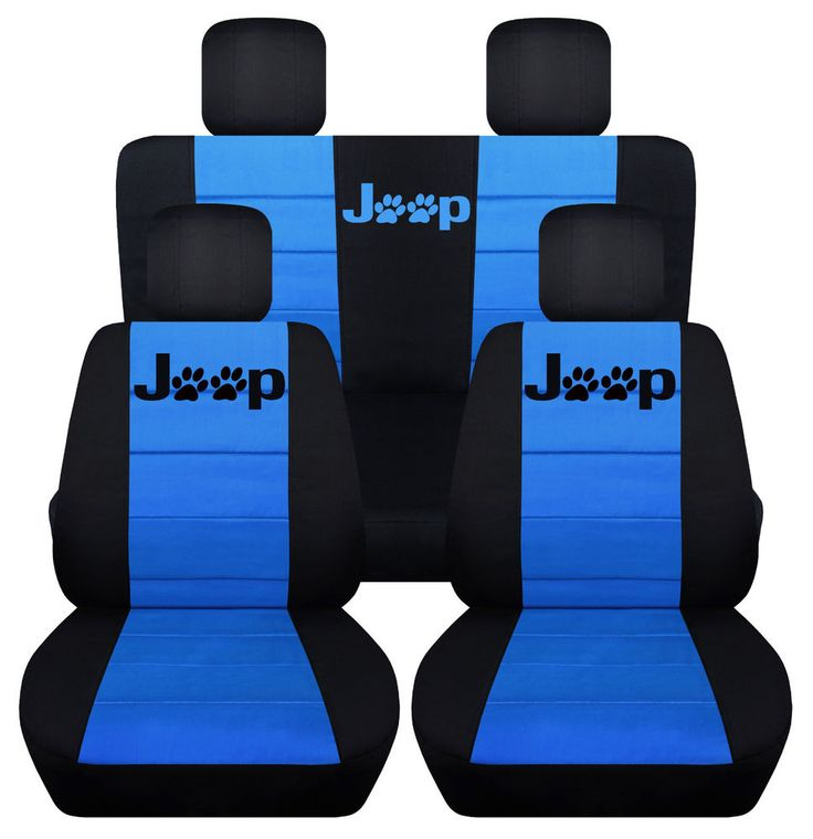 Front&Rear Black-Light Blue Seat covers Paw prints 2Door Jeep Wrangler 2011-2016 #Designcovers