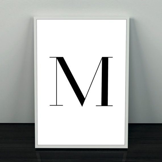 M typography poster. Name letter poster. von Borghildsposters