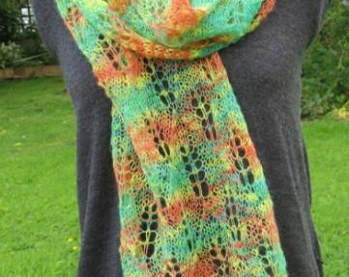 Handspun Alpaca Scarf in Zinging Citrus Colours, Light Lacy Scarf or Wrap Handknitted with Handspun Alpaca