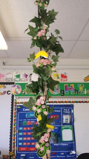 Solution to an ugly projector cord hanging from the ceiling. Hang monkeys, bananas and coconuts on a vine. Perfect for my monkey themed classroom.