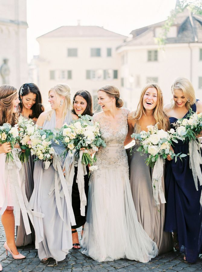 grey & navy bridesmaid dresses | Mix and Match Bridesmaids to Look Gorgeous | http://www.itakeyou.co.uk/wedding/mix-and-match-bridesmaids #bridesmaids
