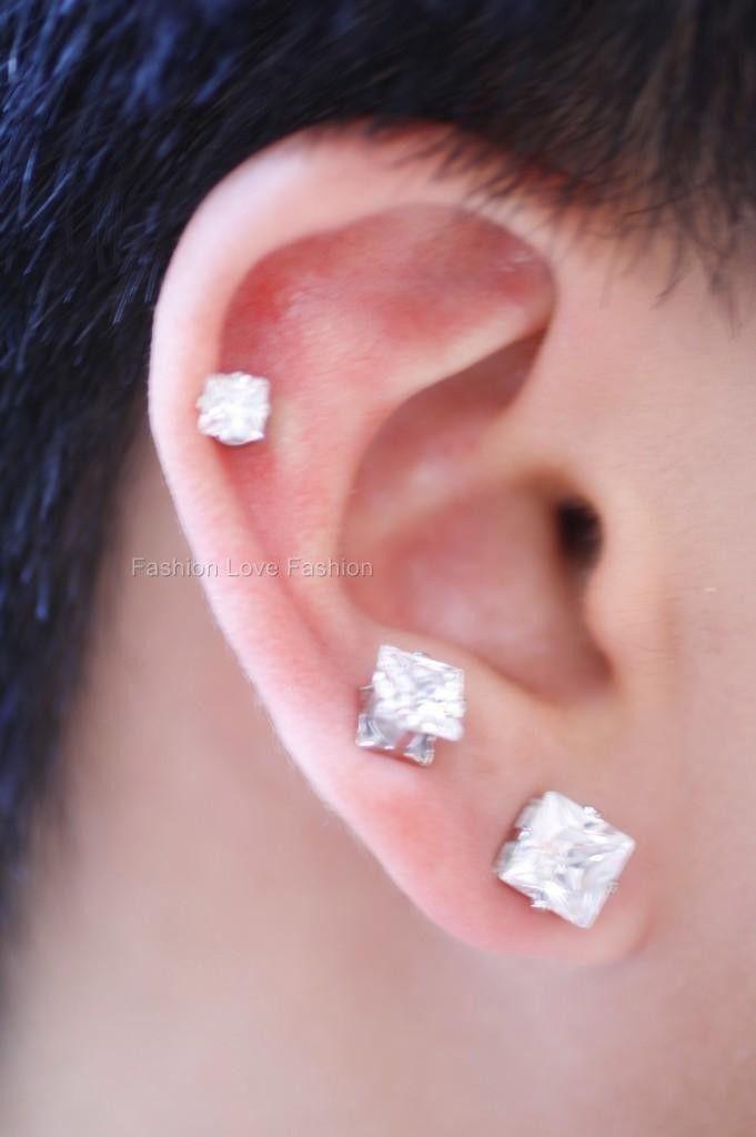 1 Pair Cz Clear Square/Round Magnetic Earrings Studs Ear Bone Ear Cuff Men Women