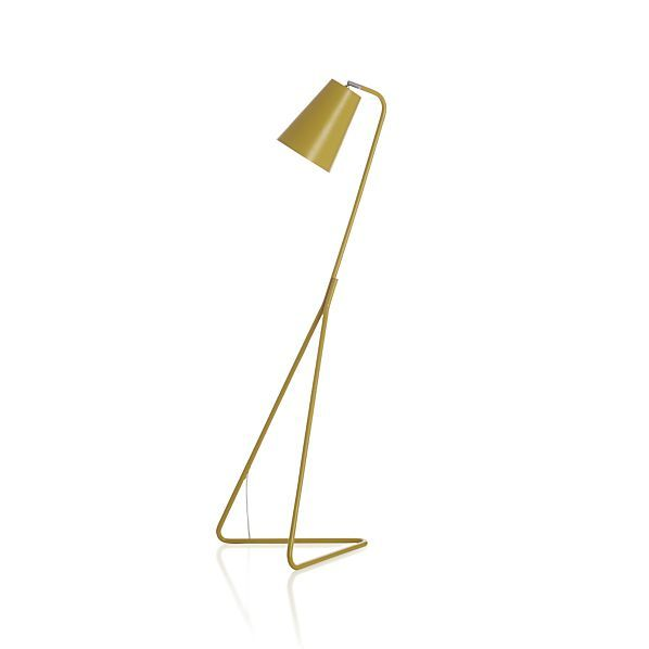 """Mick Yellow Floor Lamp Lean, spare and stylishly modern, our sculptural yellow steel lamp balances perfectly on its rakishly slanted and angled """"V"""" base. Tapered shade completes the look."""