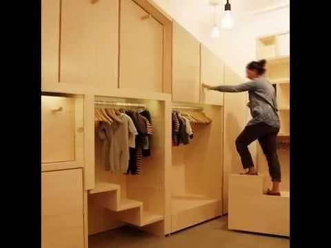 Стеллаж детской одежды, выдвижная лестница, распашные двери и съемная мебель-и все в одном шкафу.Этот шкафчик ни что иное как магазинчик детской одежды в Пар...