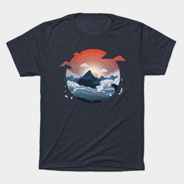Island surrounded by storm - Nature - T-Shirt | TeePublic  #islands #ocean #nature #summer #mountain #weather #storm #design #illustration #dusk #sunset #sun #sky #print #buy #sale