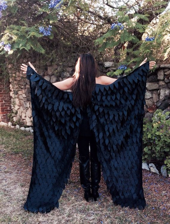 Maleficent Costume Wings Floor Length, Adult Costume Wings, Crow, Raven Wings, Black Bird Feather Wings, Halloween Costume Wings, Dark Fairy