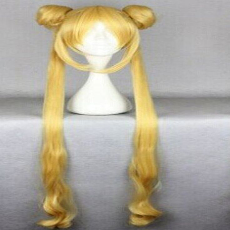 HAIRJOY Top Quality  Blonde Cosplay Wig Long  Sailor Moon Wig +Long Pigtails Animated Synthetic Hair  Party Wigs