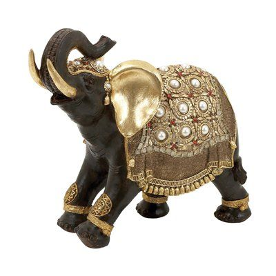 Woodland Imports 69477 Indian Style Polystone Decorative Elephant Statue