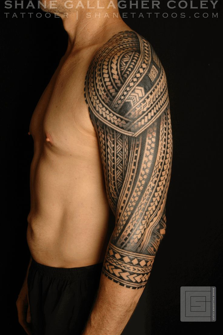 Polynesian tattoo on arm and chest - Polynesian Entire Arm And Shoulder Tattoo