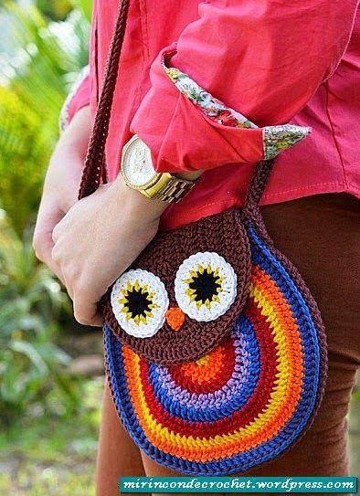 """#385 Bolsito """"Búho"""" a Crochet o Ganchillo"""