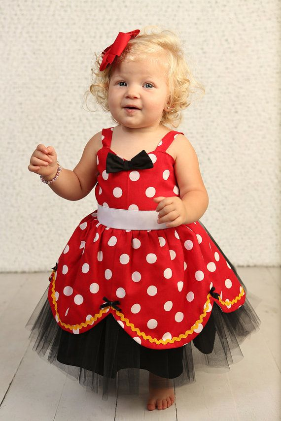 Yellow red black minnie mouse dress