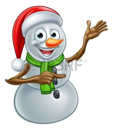 snowman: A happy Christmas snowman cartoon character pointing Illustration