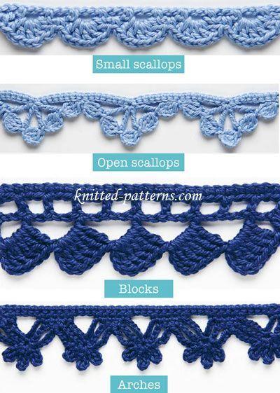 Crochet Orlas e guarnições Tutorial - (tricô-padrões)