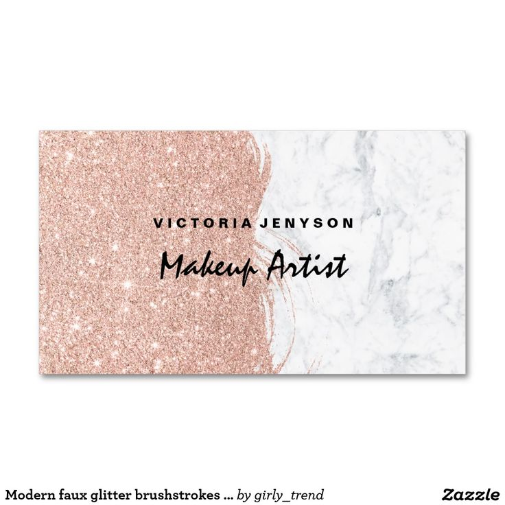 Modern faux glitter brushstrokes marble Makeup Business Card