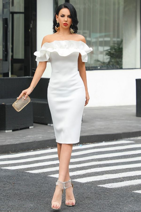 68228cab18c Off shoulder ruffle bodycon dress in 2019 | Casual Dress | Off shoulder  dress bodycon, Dresses, Strapless Dress