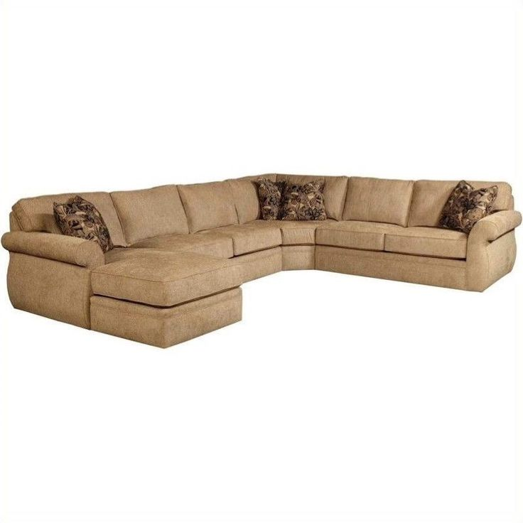 Broyhill Veronica Upholstered LAF Chaise Sectional Sofa in Beige Chenille…