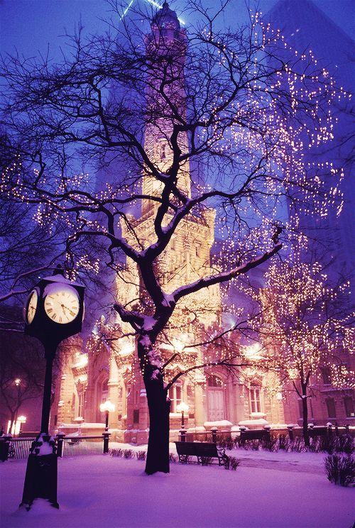 Snowy Night, Chicago, Illinois