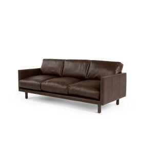 Carey 3 Sitzer Sofa, Premium Leder In Braun