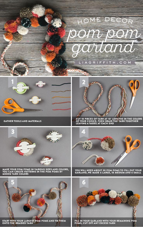 DIY Pom Pom Garland by Lia Griffith #yarncrafts #pompomcrafts #pompoms #pompomgarland #falldecor #falldiy