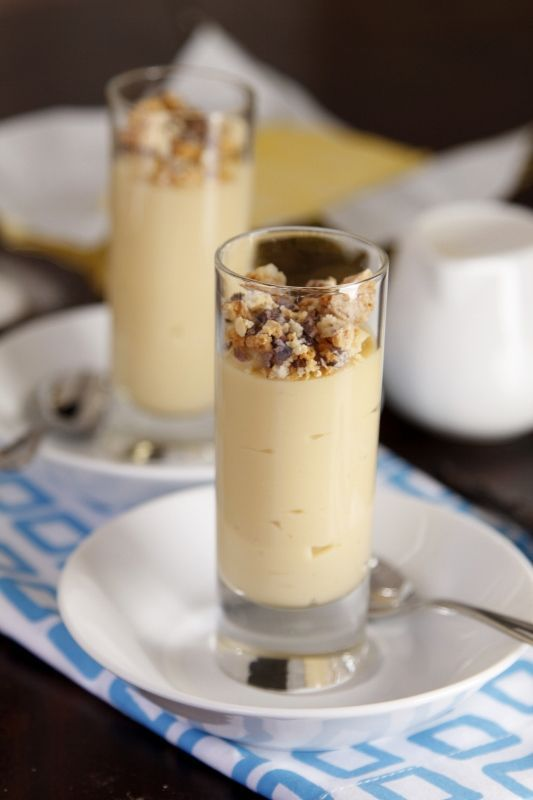 Vanilla Caramel Budino. Make today in mini glasses. Looks just like pic! Very creamy and sweet. Instead of finishing off with cookie crumbs , which made it too sweet for me, instead  I added Maldon sea salt flakes on top. Just divine!