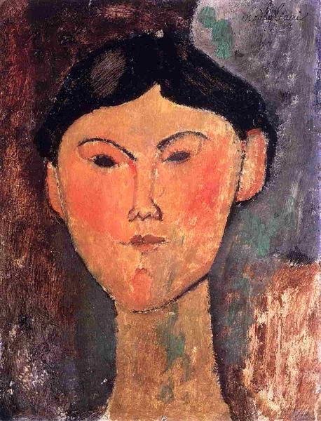 Beatrice Hastings, 1915 by Amedeo Modigliani. Expressionism. portrait. Civica Galleria d'Arte Moderna, Milan, Italy