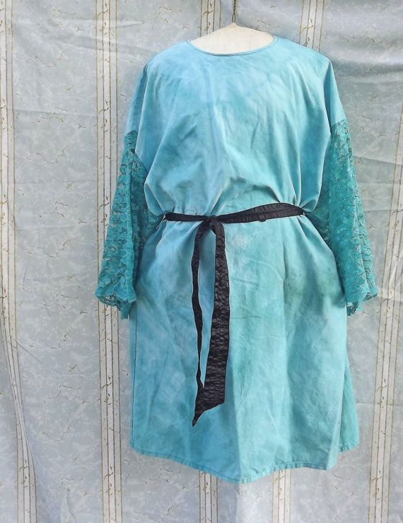 Hippie Dress Teal Lace Sleeves Large Hand Dyed by GraceAtieno, $55.00
