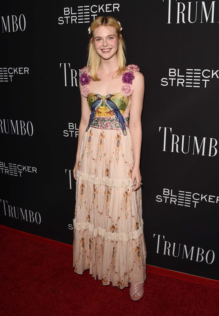 Elle Fanning at a red carpet event. Pretty! ♥ Visit my celebrity site at www.celebritysize.com♥