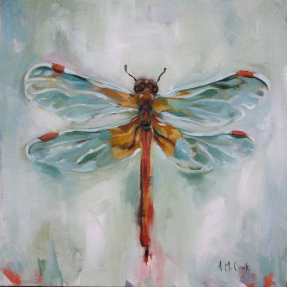 Dragonfly Painting ORIGINAL Oil on Canvas by aliciaart on Etsy, $155.00