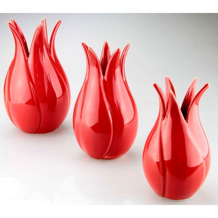 40TL 3lü Dekoratif Lale Set Kırmızı